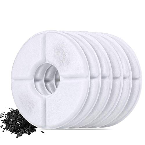 Premium Activated Filter Carbon - Pedy Cat Fountain Filters, 2L Pet Water Fountain Dispenser Premium Activated Carbon Filters 6 Pack, Automatic Electric Pet Water Drinking Fountain for Cat and Small Dog/Animals