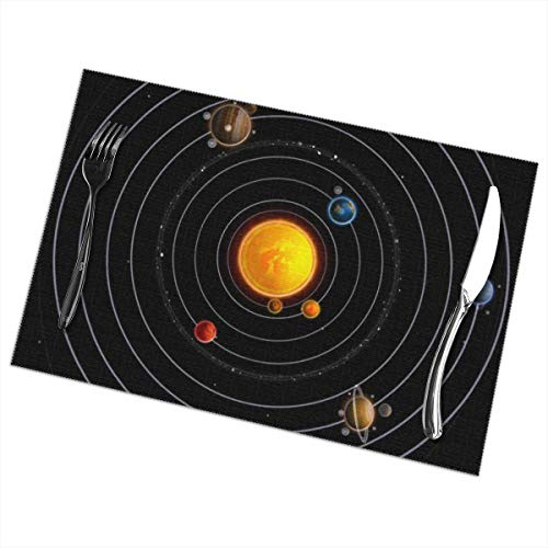 (Bizwheo Solar System Placemats Dining Table Set of 6 Portrait Plate Cushion 18 x 12 Inch)