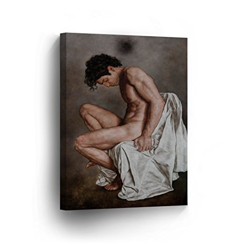 Nude Man CANVAS PRINT Decorative Muscular Realistic Sexy Man Wall Art Oil Paint Decor Artwork Wrapped Stretcher Bars - Ready To Hang %100 Handmade in the USA - V9