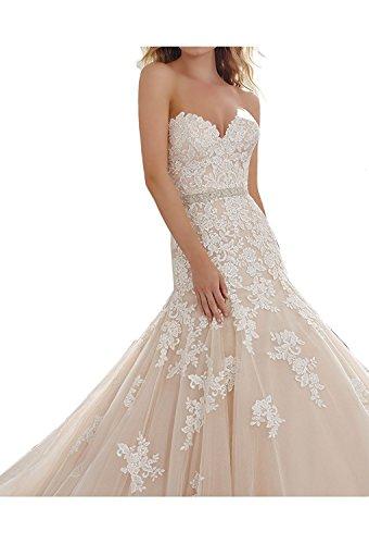 Lamia Braut Elegant Beige Spitze Hochzeitskleider Brautmode