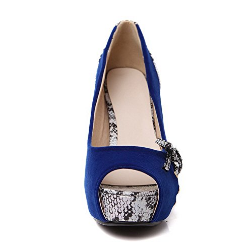 Spun Shoes Womens Platform Bowknot Pumps BalaMasa Gold Darkblue Imitated Cobra Leather qPgnw