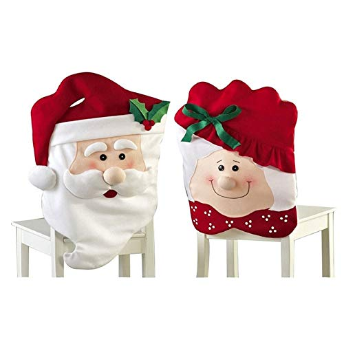 Stock Show Christmas Chair Covers Set of 2, Mr Mrs.Santa Chair Slipcover Suit Snowman Snowflakes Chair Back Cover Kitchen Dining Room Hotel Xmas Holiday Party ()