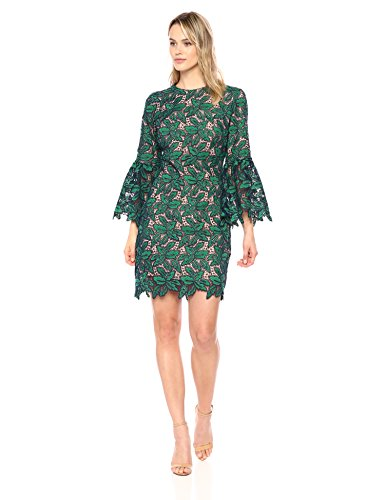 Dress the Population Women's Paige Floral Crochet LACE Bell Sleeve Shift Dress, Kelly/Navy, M -