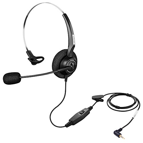 Alama Arama 2.5mm Phone Headset w/Noise Canceling Boom Mic in-line Volume Mute-Switch for Panasonic Cordless Phones and Grandstream Polycom Cisco Linksys SPA Panasonic Gigaset (2.5-Black-Mono) price tips cheap