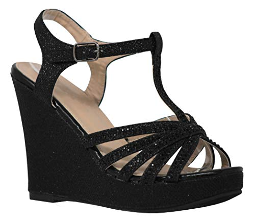 MVE Shoes Women's High Heel Wedges Sandals - Cute Crystal Details Party Sandals, Serenity-1 Black -