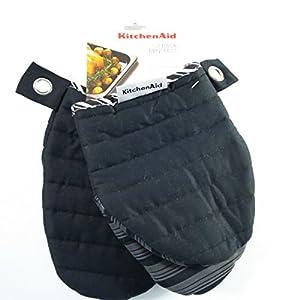 Kitchenaid pot holder oven mitt pack of 2 black mini mitt kitchen home - Kitchenaid oven gloves ...