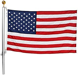 product image for Ezpole Flag Pole, Defender Flagpole Kit for Two Flags, Aluminum and Stainless Steel Dual Flag Pole, 17-Feet