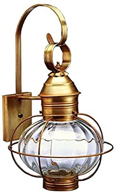 Northeast Lantern 2541-RB-MED-OPT Caged Onion Wall Lantern with Medium Base Socket in Optic Glass, Raw Brass Finish