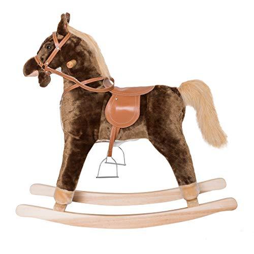 - Peach Tree Baby Kids Toy Plush Wooden Rocking Horse Boy Riding Rocker with Sound Brown (31