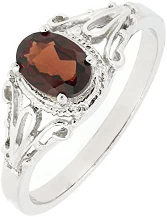 Filigree Sterling Silver Oval Cut Natural Mozambique Garnet Ring (1 CT.T.W)