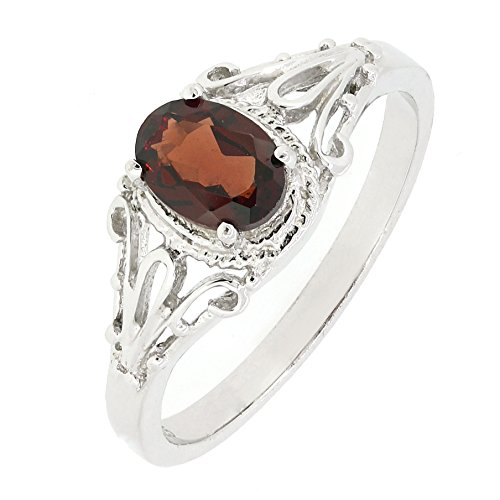 BL Jewelry Filigree Sterling Silver Oval Cut Natural Mozambique Garnet Ring (1 CT.T.W) (6.5) ()