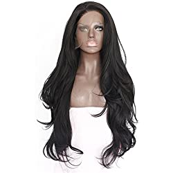 eNilecor Natural Black Lace Front Wig Long Curly Synthetic Wigs for Black Women with Free Wig Cap (Black.)
