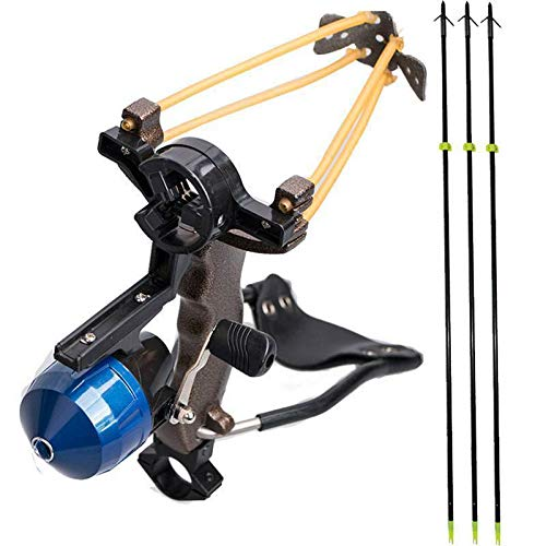 I-Sport High Velocity Hunting Archery Bow Fishing Reel Slingshot Slingbow Catapult with Solid Fiberglass Arrows Wrist Arrows Rest (1x Slingshot + 3X Black Arrows) ()