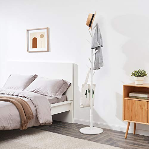 LOHO Wooden Coat Rack Hat Stand 8 Hooks Clothes Scarves Rack Hanger Storage Organizer Standing Hall Tree White – Amazon Vine