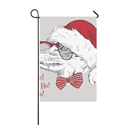 Home Decorative Outdoor Double Sided Christmas Poster Image Fox Portrait Santas Garden Flag,house Yard Flag,garden Yard Decorations,seasonal Welcome Outdoor Flag 12 X 18 Inch Spring Summer -