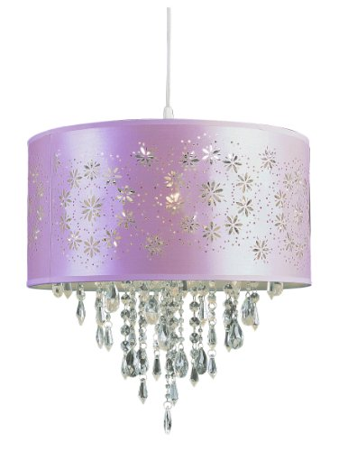 Trans Globe Lighting PND-607 PK Kids Satin Flower Wreaths Crystal Pendant, Pink by Trans Glob Lighting