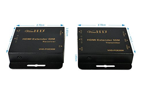 ViewHD Advanced Low Profile HDMI Extender over 50M Single Ethernet Cable with Local Loop   IR Extender   Power Over Ethernet ''POE'' Features   Model: VHD-POE50M by ViewHD (Image #2)