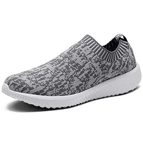 LANCROP Women's Comfortable Walking Shoes - Lightweight Mesh Slip On Athletic Sneakers 9.5 M US Grey