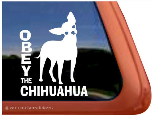 OBEY the Chihuahua Vinyl Window Decal Dog Sticker