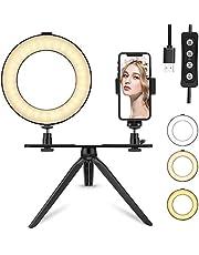 """6""""Tenswall LED-Ringlicht + Stativhalterung und Handyhalterung,360 ° LED-Mini-Schreibtischleuchte mit 3 Lichtmodi und 11 Helligkeitsstufen für Live-Übertragung,YouTube Video Shooting,Selfie und Makeup"""