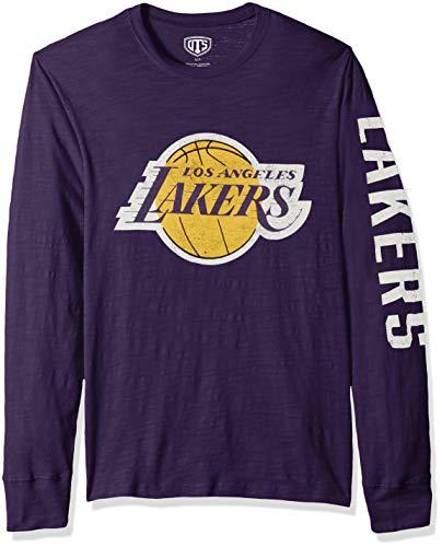 OTS NBA Los Angeles Lakers Male Slub Long Sleeve Team Name Tee Distressed, Purple, X-Large