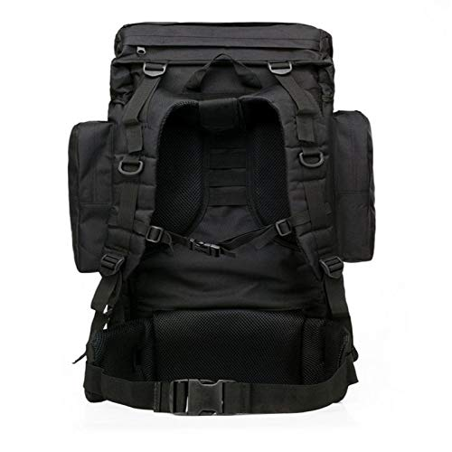 Color : Black MARIEHELVEGA 65L Large Capacity Outdoor Army Fans Tactical Backpack Men and Womens Waterproof Hiking Bag Travel Bag Sports Backpack