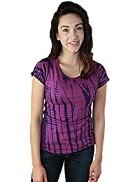 Emoticon Women's Tie Dye Summer Concert Round Neck Tee