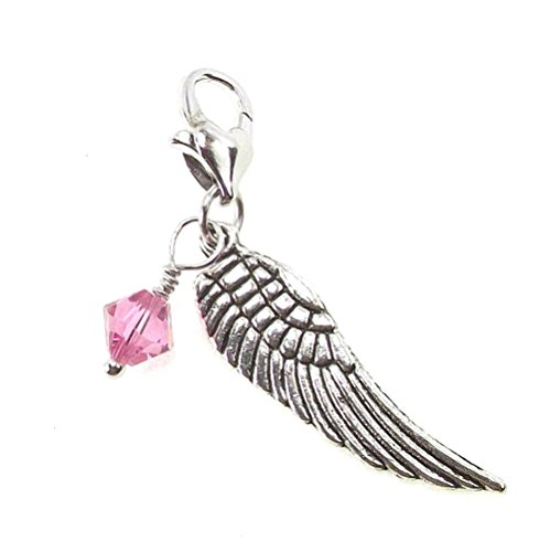 (Guardian Angel Wing Dangle Made with Birth Month Crystals from Swarovski Clip On Silvertone Heart Clasp (October -)