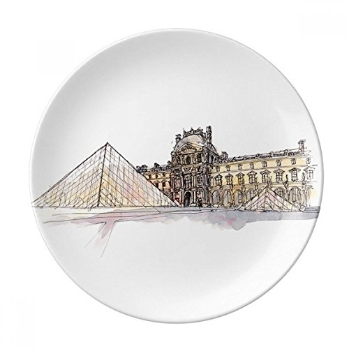 Louvre Museum in Paris France Dessert Plate Decorative Porcelain 8 inch Dinner Home