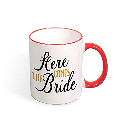 DKISEE Colorful Here Come The Bride Coffee Mug Novelty 11oz Ceramic Mug Cup Birthday Christmas Anniversary Gag Gifts Idea