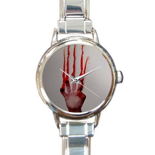 Personalized Watch Help me people with bloody hand Round Italian Charm stainless steel Watch