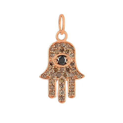 14k Rose Gold pave Black diamond hamsa charms beautiful necklace jewelry by Jaipur Handmade Jewelry