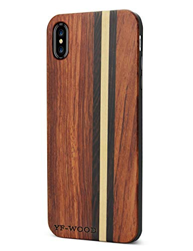 Compatible for iPhone X Wood Case, for Cool iPhone X Case with Rubber and Wood Stripes Pattern High Impact Durable Shockproof Back Shell Ultra Thin Heavy Duty Hybrid Drop for iPhone X/XS