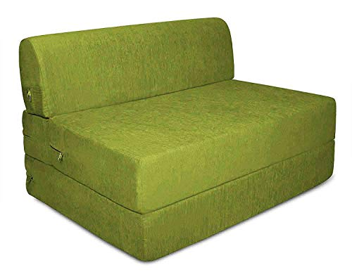 Aart Store Sleeps and Comfortably Mechanism Type Fold Out One Seater Sofa Cum Bed  Green, 3x6 ft