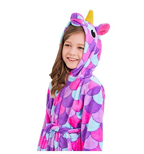 Soft Unicorn Hooded Bathrobe Sleepwear - Unicorn Gifts for Girls (7-9 Years, Pink Purple)]()