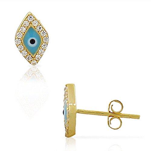 (925 Sterling Silver Yellow Gold-Tone Diamond-Shaped White CZ Evil Eye Hamsa Small Womens Girls Stud Earrings)