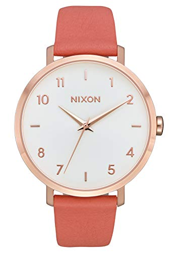 NIXON Arrow Leather A1107 - Rose Gold/Salmon - 66M Water Resistant Women's Analog Classic Watch (38mm Watch Face, 17.5mm Stainless Steel -