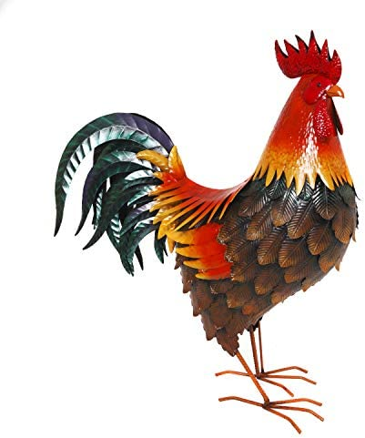 The Gerson Company New Outdoor Indoor Accent Metal 35 inch Jumbo Rooster Figurine Statues Decor