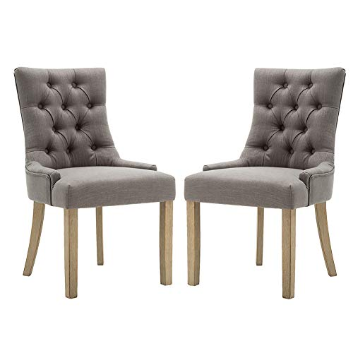 Fabric Dining Chairs – Modern Tufted Accent Chair with Wingback and Low Arm – Set of 2, Gray