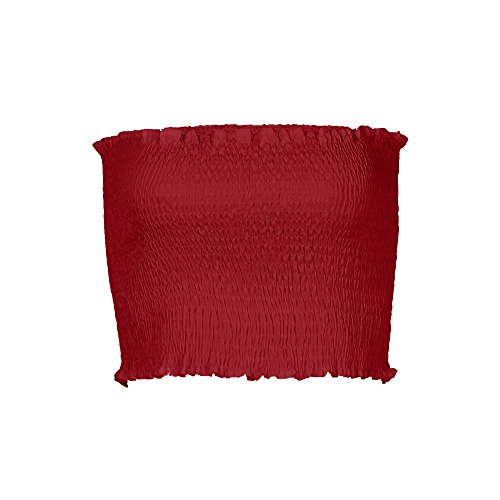 Pleated Bandeau - Women's Sexy Off Shoulder Bandeau Strapless Crop Tops Pullover Blouse Tube Cami (Medium, Red)