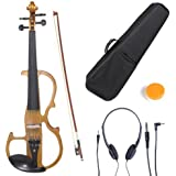 Cecilio CEVN-2Y Style 2 Silent Electric Solid Wood Violin with Ebony Fittings in Metallic Yellow Maple, Size 4/4 (Full Size)