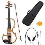Cecilio 4/4 CEVN-2Y Solid Wood Yellow Maple Metallic Electric / Silent Violin with Ebony Fittings in Style 2 (Full Size)