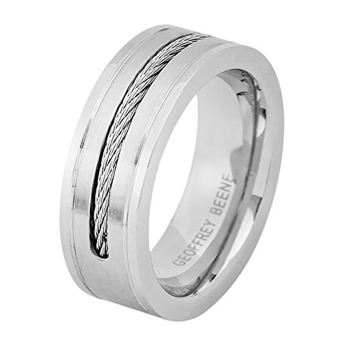 Geoffrey Beene Men's Comfort Fit Cable Wire Inlay Stainless Steel Ring Wedding Band, Silver Cable Comfort Fit Wedding Band