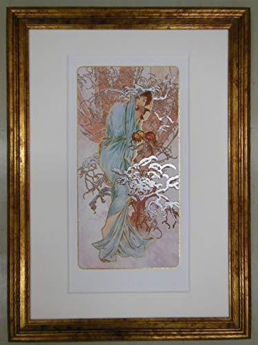 アルフォンスミュシャ「ウィンター」ミックスドメディア版画 女性人物画 アールヌーボー   B07RPYPL52