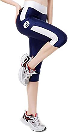 Ribay Women's Capri Workout Leggings - Guaranteed Quality Yoga/Running Pants (Small, White-Blue)