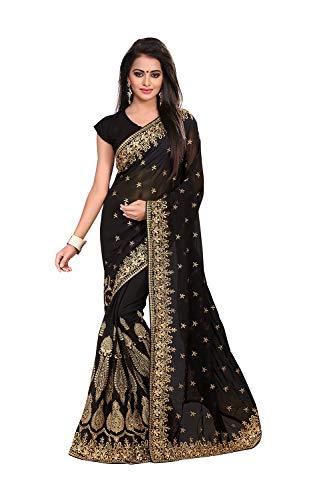 - Saree for Women Indian Ethnic Sari in Black Georgette