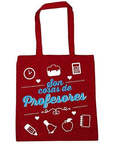 HippoWarehouse Son Cosas de Profesores Bolso de Playa Bolsa Compra Con Asas para gimnasio 42cm x 38cm 10 litros capacidad Rojo