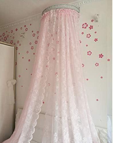 レースベッドキャノピー,白い王女のベッドカーテン 寝室のための装飾的なドレープ金属の王冠が付いている裁判所の蚊のネット-b