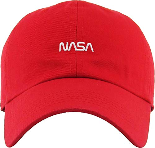 (Funky Junque Dad Hat Unisex Cotton Low Profile Distressed Vintage Baseball Cap (NASA - Red))