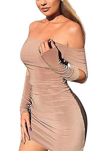 Mojessy Womens Sexy Off Shoulder Long Sleeve Hollow Out Bodycon Mini Dress